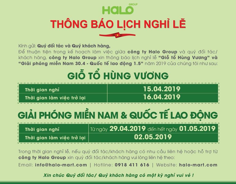 HALO GROUP thông báo Lịch nghỉ lễ Giỗ Tổ Hùng Vương, 30/04 & 01/05
