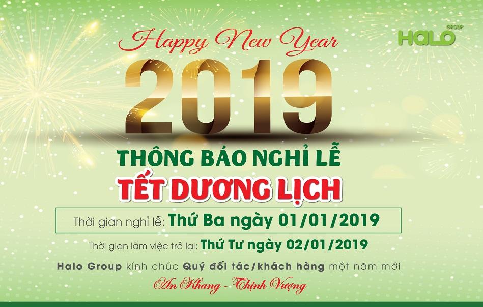 HALO GROUP thông báo thời gian nghỉ Tết Dương Lịch 2019