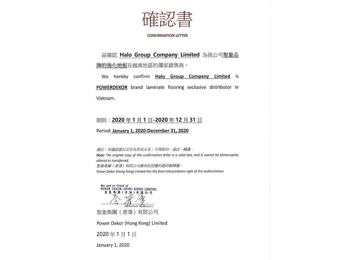 Power Dekor cấp chứng nhận Halo Group phân phối độc quyền tại thị trường Việt Nam