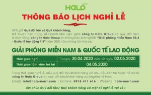 Halo Group thông báo lịch nghỉ lễ 30/04 & 01/05
